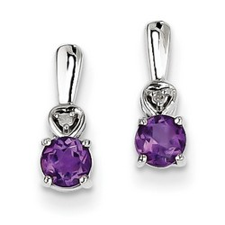Amethyst & Diamond Earrings in 925 Sterling Silver 10x4mm 1.1gr 0.44ct