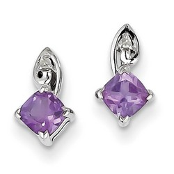 Amethyst & Diamond Earrings in 925 Sterling Silver 10x5mm 1.14gr 0.51ct