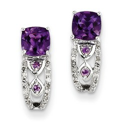 Amethyst & Diamond Earrings in 925 Sterling Silver 15x5mm 2.07gr 0.99ct
