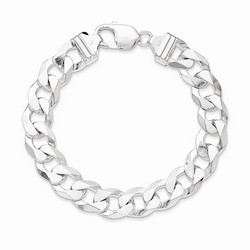 12.3 mm Beveled Curb Chain in 925 Sterling Silver