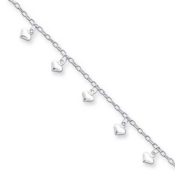 9 Inch Multiple Puffed Hearts Anklet In 925 Sterling Silver