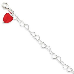 10 Inch Large Red Heart and Small Open Hearts Anklet In 925 Sterling Silver