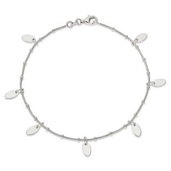 10 Inch Oval Disc Snake Chain Anklet In 925 Sterling Silver