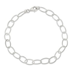 10 Inch Braided And Polished Oval Link Anklet In 925 Sterling Silver