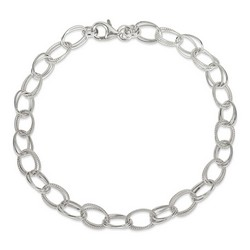 10 Inch Double Oval Link Anklet In 925 Sterling Silver