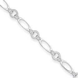 10 Inch Polished Oval And Circular Link Anklet In 925 Sterling Silver