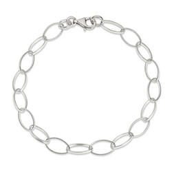 10 Inch Oval And Circular Link Anklet In 925 Sterling Silver