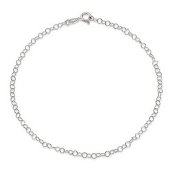 10 Inch Thin Rolo Anklet In 925 Sterling Silver