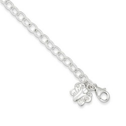 10 Inch Butterfly And Thin Oval Chain Anklet In 925 Sterling Silver