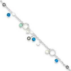 9 Inch Cultured Pearl Turquoise And Clear Bead Anklet In 925 Sterling Silver