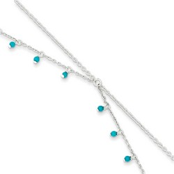 10 Inch Turquoise Beads Double Chain Anklet In 925 Sterling Silver