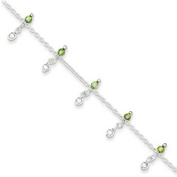 9 Inch Dangling Peridot Beads Anklet In 925 Sterling Silver