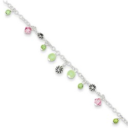 9 Inch Peridot Pink Crystal And Green Quartz Anklet In 925 Sterling Silver