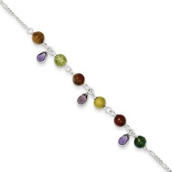 9 Inch Multi-Colored Jasper Anklet In 925 Sterling Silver