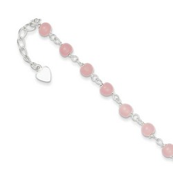 9 Inch Pink Beads And Heart Anklet In 925 Sterling Silver