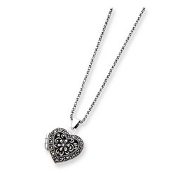 Marcasite Heart Locket with 18 inch Chain Necklace in 925 Sterling Silver