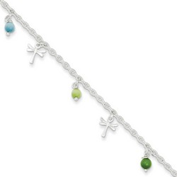 10 Inch Dragonflies Along With Green And Aqua Beads Anklet In Sterling Silver