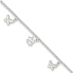 10 Inch Butterflies And Bees Anklet In 925 Sterling Silver