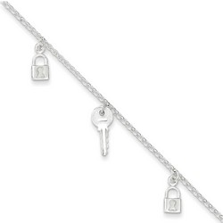 10 Inch Lock And Key Anklet In 925 Sterling Silver