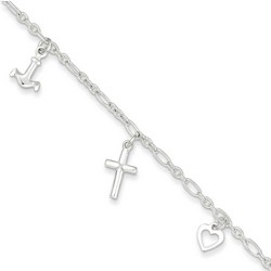 10 Inch Heart Cross And Anchor Anklet In 925 Sterling Silver
