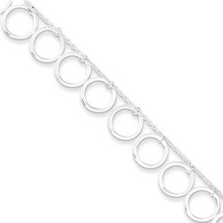 10 Inch Dangling Circles Anklet In 925 Sterling Silver