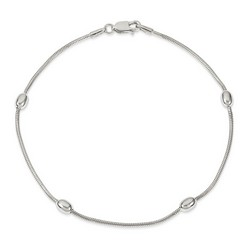 9 Inch Oval Ball Chain Anklet In 925 Sterling Silver