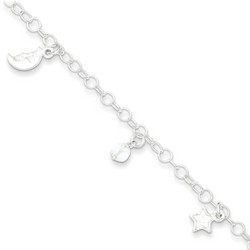 9 Inch Half Moon Sun And Stars Anklet With 1 Inch Extension In Sterling Silver