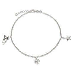 9 Inch Dolphin Heart And Star Anklet With 1 Inch Extension In Sterling Silver