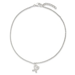 10 Inch CZ Pretzel Heart Anklet With 1 Inch Extension In 925 Sterling Silver