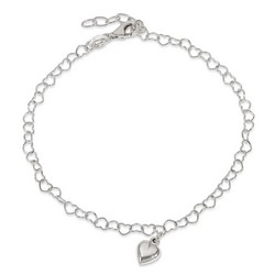 9 Inch Heart Anklet On Heart Chain With 1 Inch Extension In 925 Sterling Silver