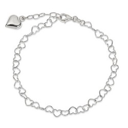 9 Inch Large Heart Anklet With 1 Inch Extension In 925 Sterling Silver