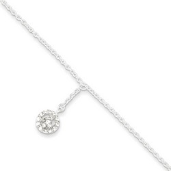 9 Inch Peace Sign And CZ Anklet With 1 Inch Extension In Sterling Silver