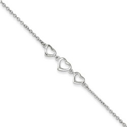 10 Inch Trio Of Open Hearts Anklet With 1 Inch Extension In 925 Sterling Silver
