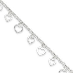 9 Inch Duo Of Open Hearts Anklet In 925 Sterling Silver