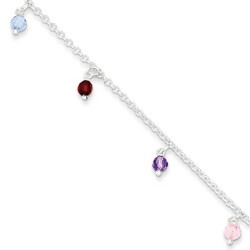 9 Inch Multi-Colored Bead Anklet With 1 Inch Extension In Sterling Silver