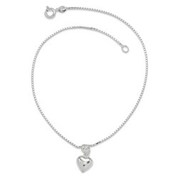 10 Inch Medium polished Puffed Heart Anklet In Sterling Silver