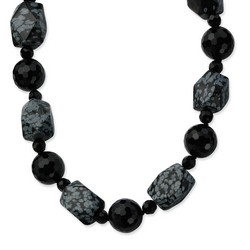 14mm and16mm Black Agate Snowflake Agate Necklace in 925 Sterling Silver