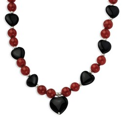 16 and 13mm Blk Agate 8.5mm Red Agate Beads Necklace in 925 Sterling Silver