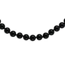 12-12.5mm Smooth Beaded Black Agate Necklace