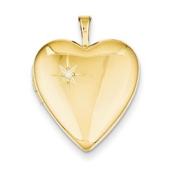 20mm Diamond Heart Locket 1/20 Gold Filled with 18 inch Chain