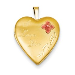 20mm Enameled I Love You Heart Locket 1/20 Gold Filled with 18 inch Chain
