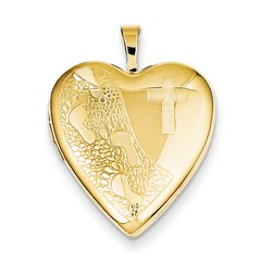 20mm Cross and Footprint Heart Locket 1/20 Gold Filled with 18 inch Chain