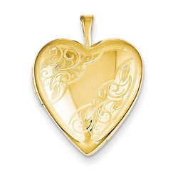20mm Side Swirled Heart Locket 1/20 Gold Filled with 18 inch Chain