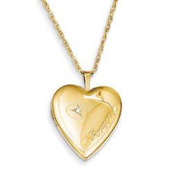 20mm Forever Heart Locket  and Diamond 1/20 Gold Filled with 18 inch Chain