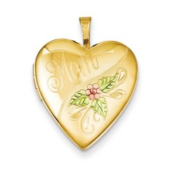 20mm Enameled Mom Heart Locket 1/20 Gold Filled with 18 inch Chain