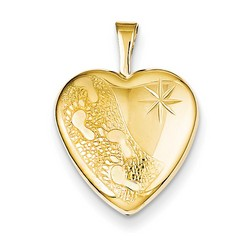 16mm Footprints Heart Locket 1/20 Gold Filled with 18 inch Chain