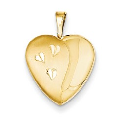 16mm Satin and Polished Heart Locket 1/20 Gold Filled with 18 inch Chain