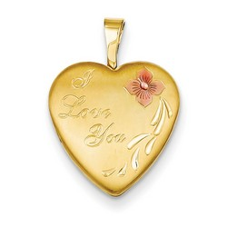 16mm Enamel Flower I Love You Heart Locket 1/20 Gold Filled with 18 inch Chain