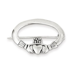Claddagh Pin in 925 Sterling Silver
