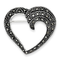 Marcasite Heart Pin in 925 Sterling Silver